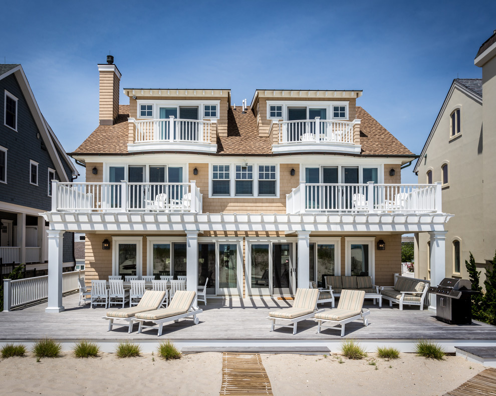 Example of a beach style exterior home design in New York