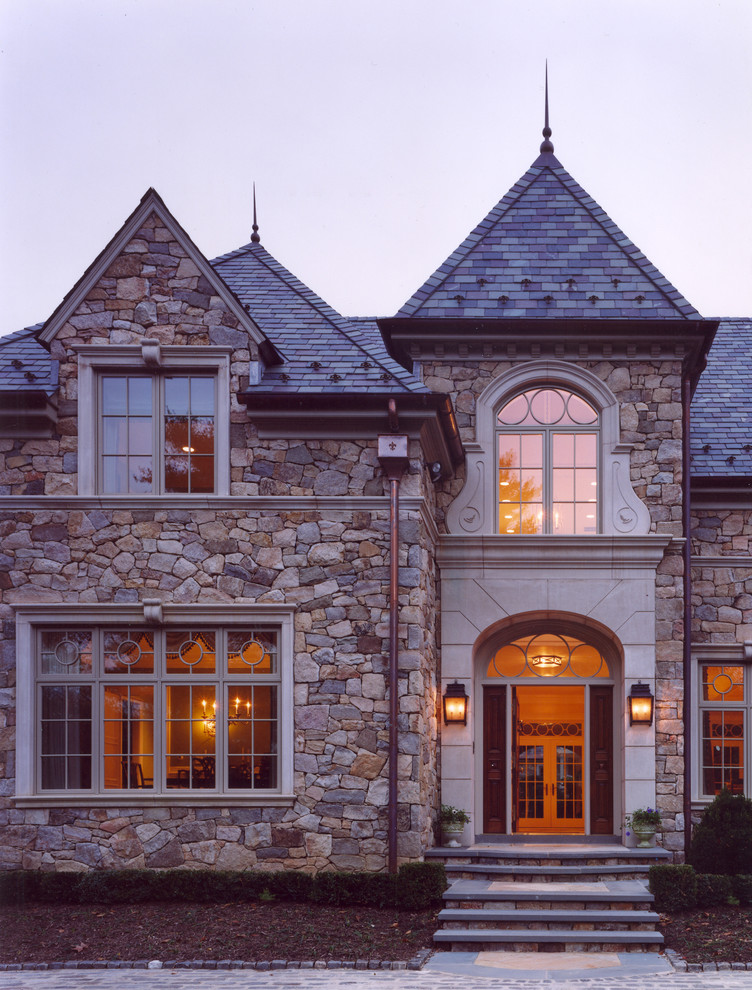 Elegant stone exterior home photo in Philadelphia