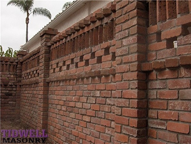 Brick Patio Screen Wall Craftsman Exterior San Diego