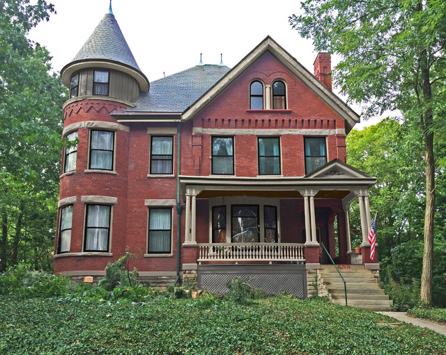 Brick Victorian with Turret Painting - Victorian ...