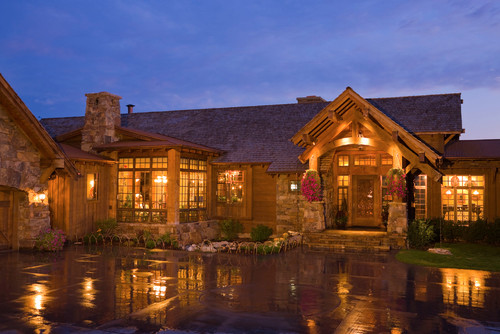 rustic exterior by bozeman architects designers locati architects - Luxury Stone Exterior