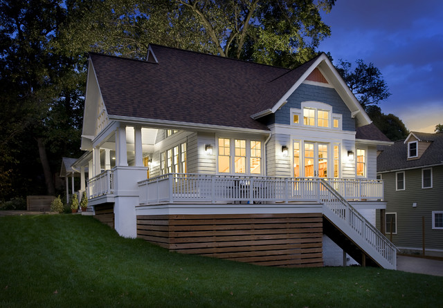 Bungalow Expanded at dusk contemporary-exterior