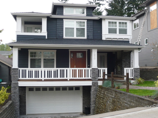 buried garage and hidden upstairs balcony exterior seattle by rh houzz co uk
