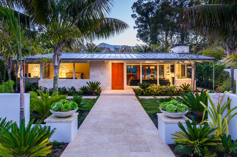 1960s one-story exterior home photo in Santa Barbara with a metal roof