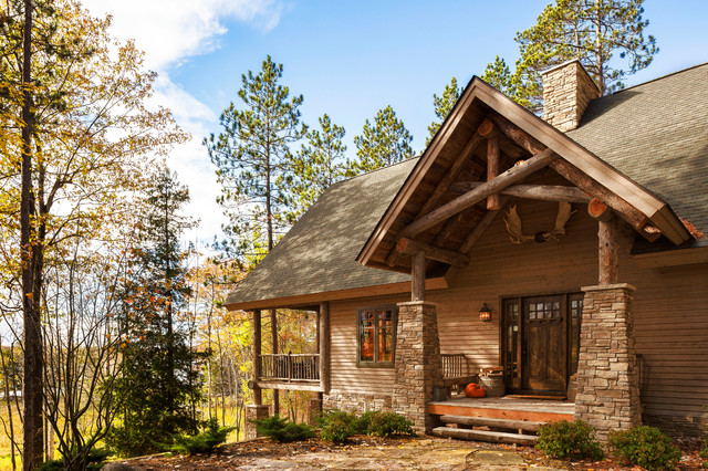 Cabin In The Woods Rustic Exterior Detroit By