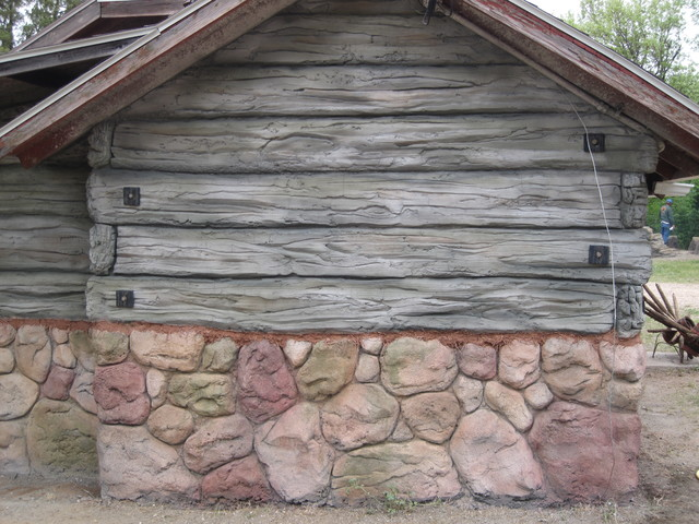 Cabin Refacing Siding With Hand Carved Faux Wood And Stone