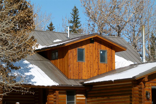 Cabin stair remodel and bathroom addition traditional for Log cabin additions ideas