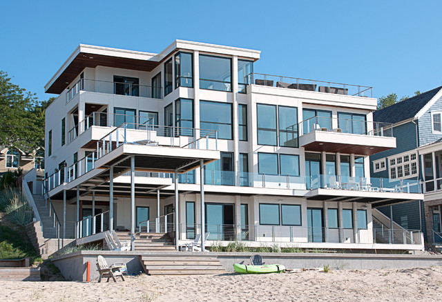 Modern Beach House california style modern beach house on lake michigan - modern