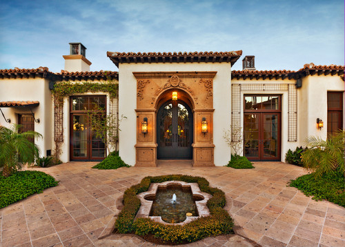 As seen in houzz fine art lamps for Mediterranean exterior design