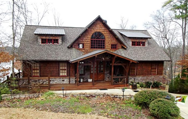 Camp stone traditional exterior atlanta by max for Timber frame farmhouse plans