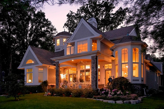 Cape cod shingle style lake home traditional exterior for Shingle home plans