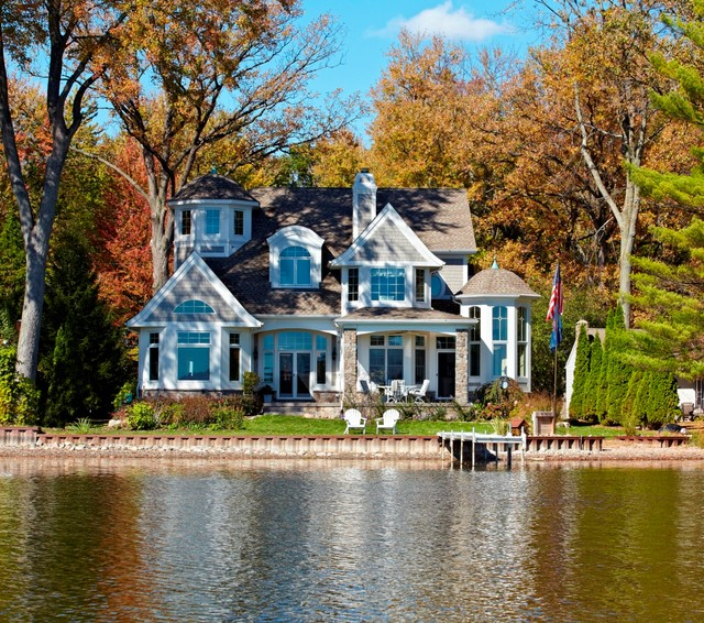 Cape cod shingle style lake home victorian exterior for Lakehouse homes