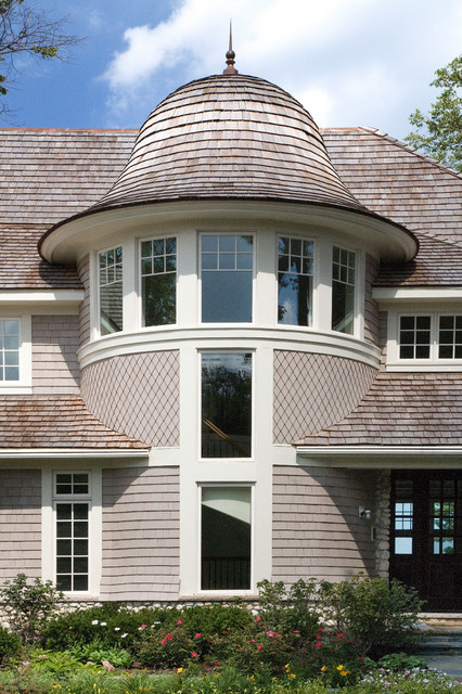 Cape Cod Stone And Shingle Style House With Turreted