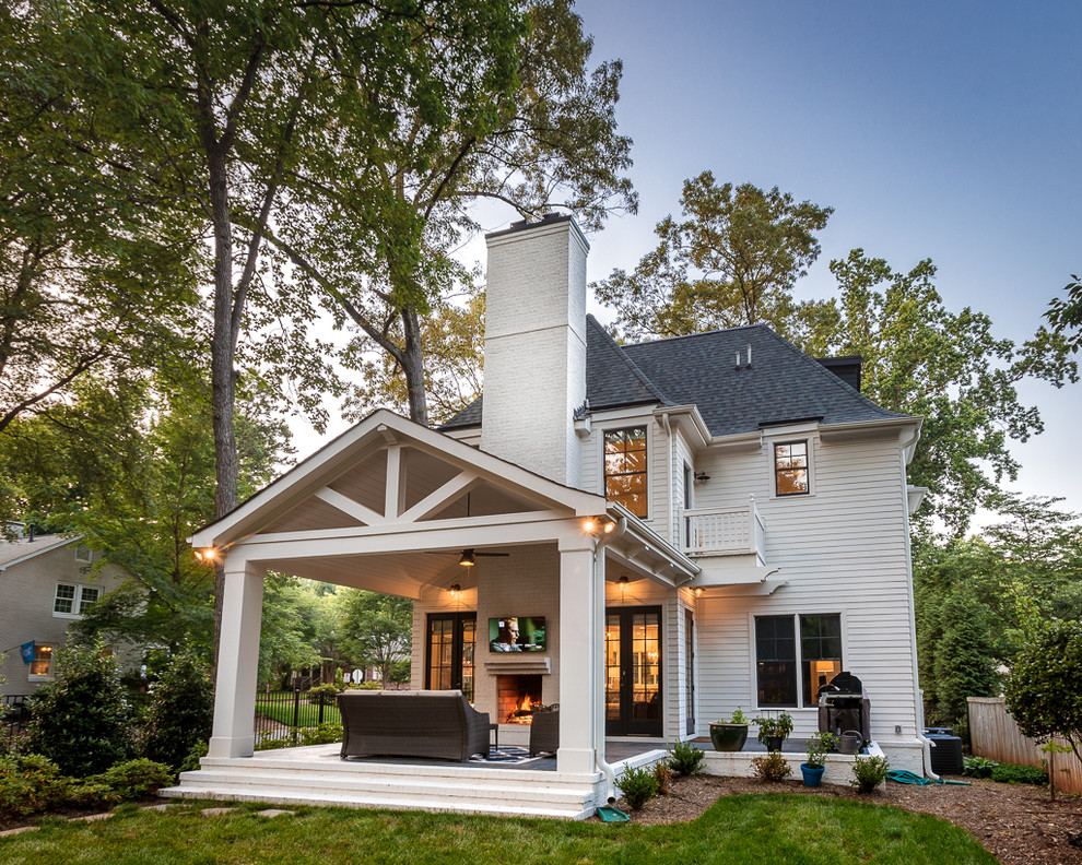 Large transitional white two-story mixed siding exterior home idea in Charlotte