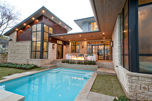 Transitional style home contemporary elements with for Modern vintage house exterior