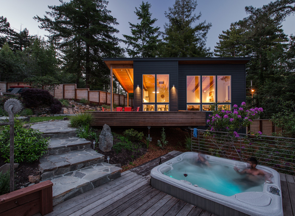 Inspiration for a rustic gray one-story exterior home remodel in San Francisco