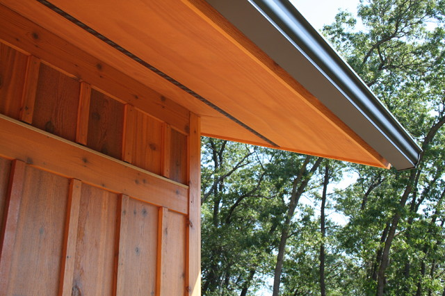 Cedar board and batten siding and soffit Transitional Exterior