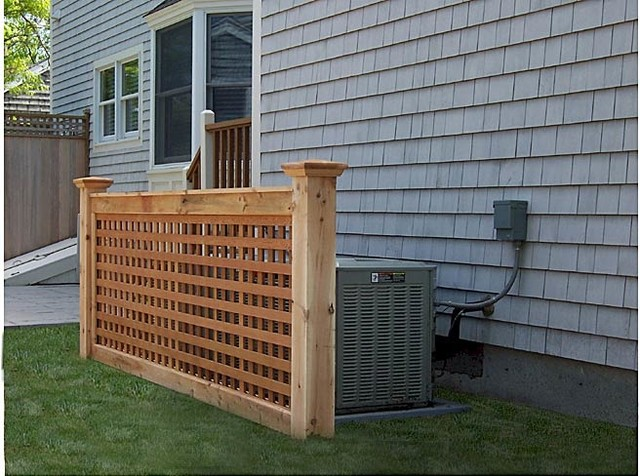 Cedar lattice screen traditional exterior boston