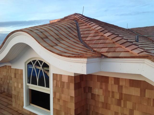 Cedar shingled eyebrow dormer beach style exterior for Prefab eyebrow dormer