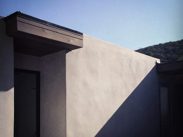 Cedar Soffit At Smooth Stucco Midcentury Exterior