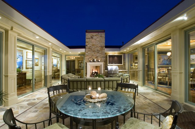 Center atrium traditional exterior orange county for House plans with atrium in center