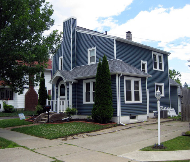 Traditional bedroom with navy blue paint - Certain Teed Siding Traditional Exterior New York