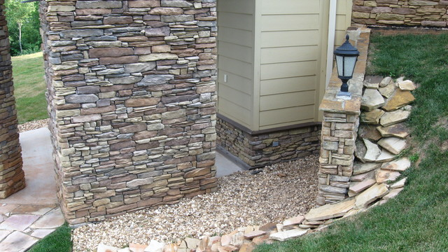 changing the color of stone veneer traditional exterior raleigh by exact match masonry