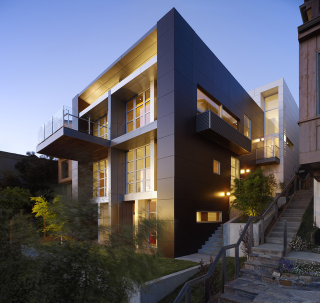 Example Of A Trendy Three Story Exterior Home Design In San Francisco
