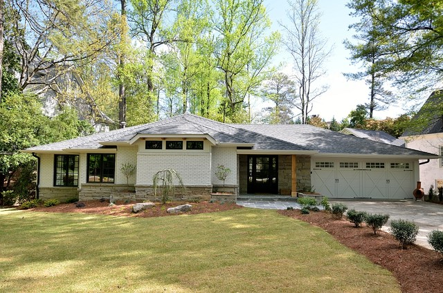Chastain Park Remodel Midcentury Exterior Atlanta By Integral Structure Inc