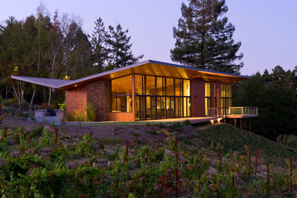 Mid-century modern one-story wood exterior home photo in San Francisco with a butterfly roof