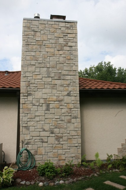 Chicago Are Exterior Stone Siding Transformation traditional-exterior
