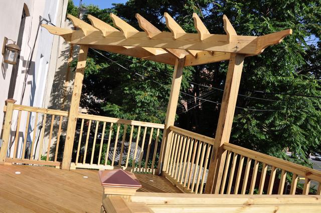 Corner deck pergolas