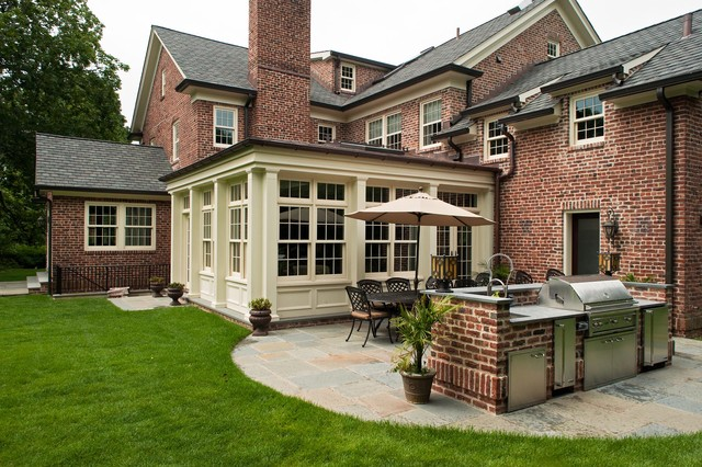 Classic scarsdale brick colonial traditional exterior for Brick colonial house plans