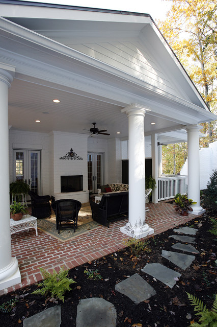 Classical covered patio traditional exterior