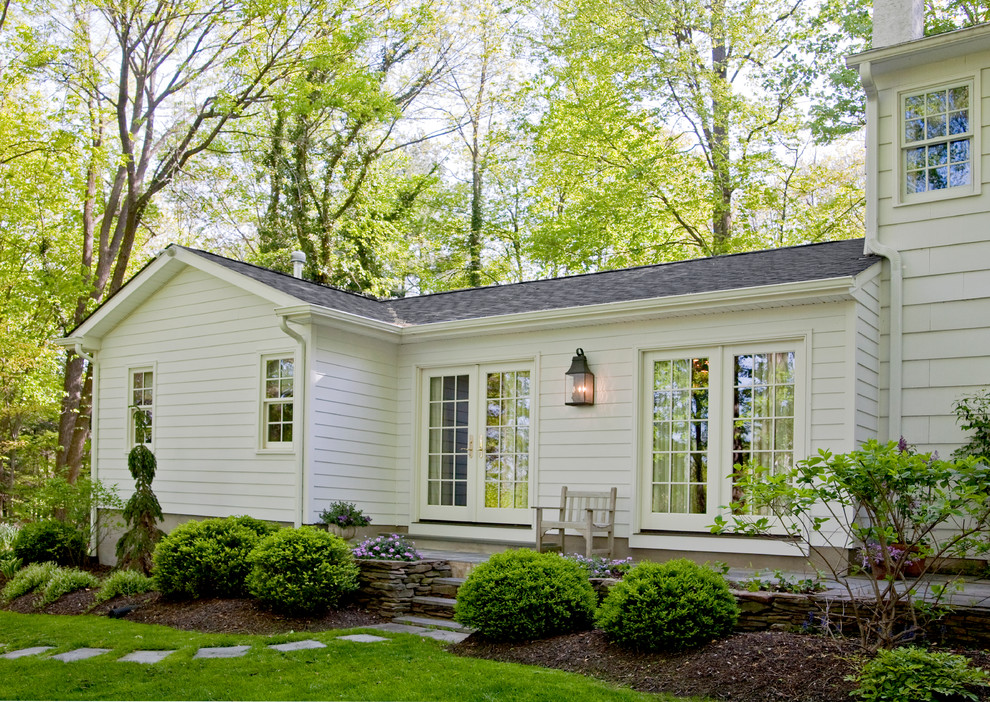 Inspiration for a timeless wood exterior home remodel in Philadelphia