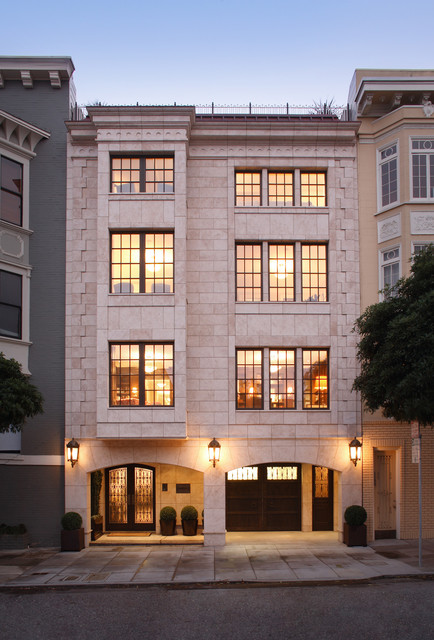 Classical Twist: A Modern Townhouse with Traditional Reference transitional-exterior