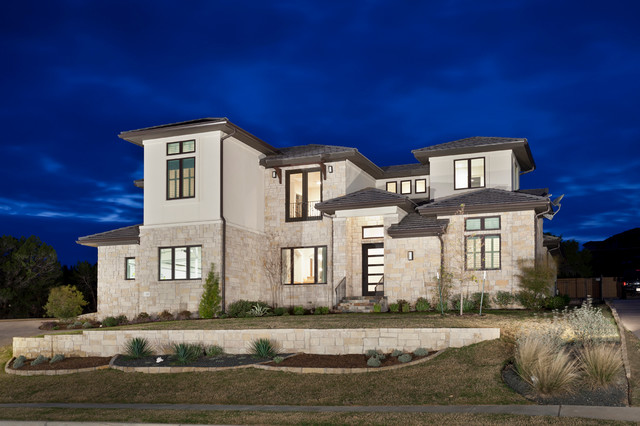 Clean modern transitional modern exterior austin for Transitional home plans