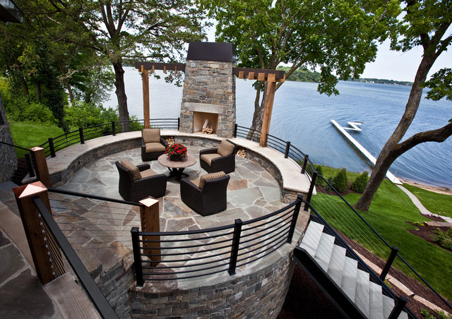 Cliffside Fireplace modern-exterior