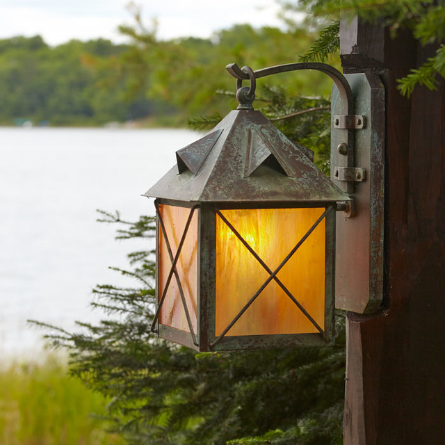 Outdoor Wall Lights Woodies : Close-up of Exterior Wall Light on Wood Post - Rustic - Post Lights - milwaukee - by Brass Light ...