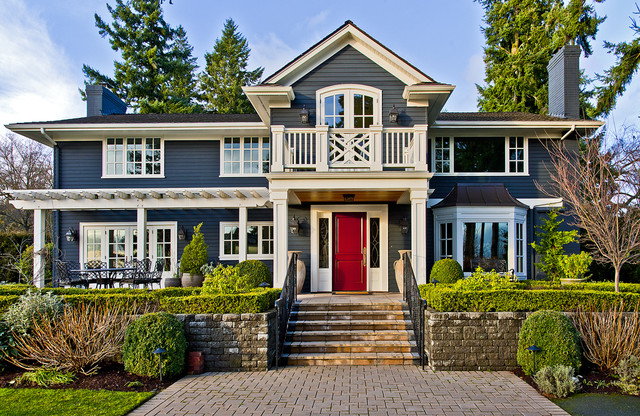 Inspiration for a timeless wood exterior home remodel in Seattle