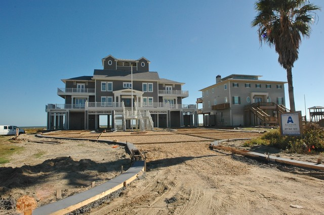 Coastal Beachfront Custom Home Front Elevation Beach