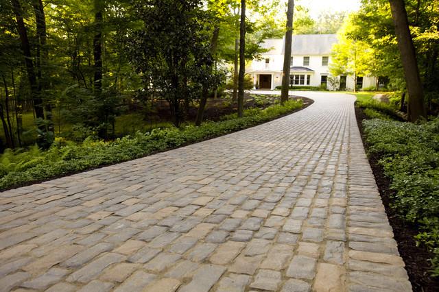 Cobblestone Concrete Paver Driveway Traditional