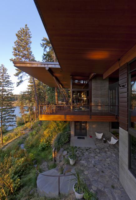 Coeur D'Alene Residence on Lake Coeur D'Alene rustic-exterior