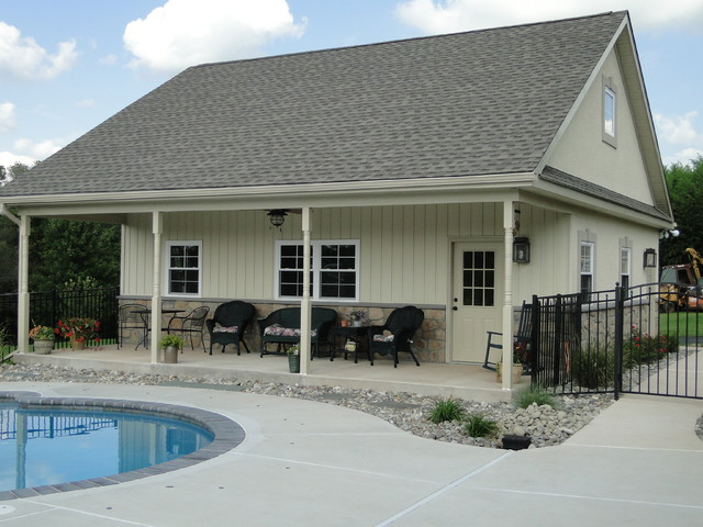 Collegeville pa residence pool house and garage for Detached garage pool house