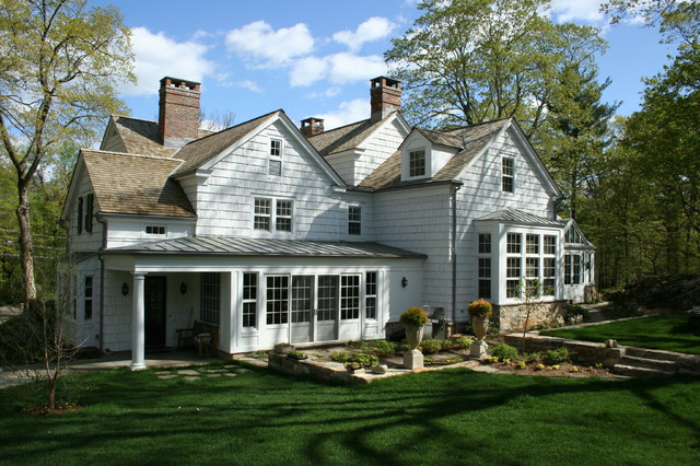 Colonial revival exteriors with additions and conservatory for Colonial home additions
