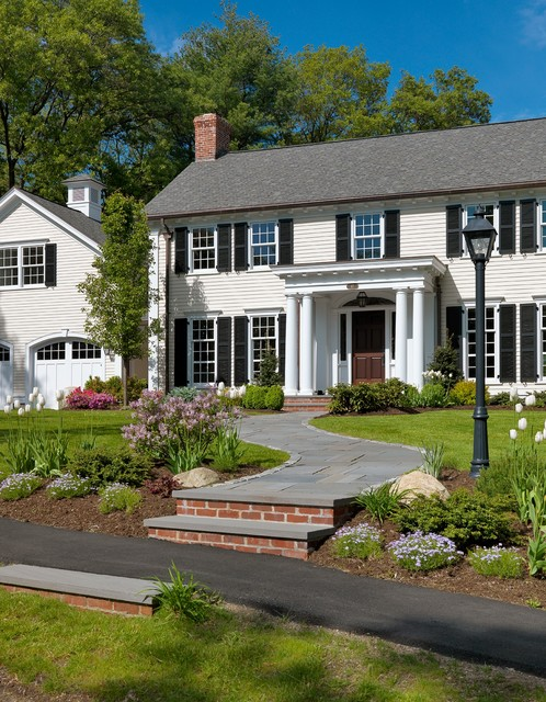 Colonial revival traditional exterior boston by for Colonial landscape design