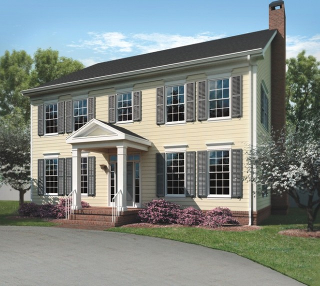 Colonial style home with lp smartside traditional for Colonial style trim