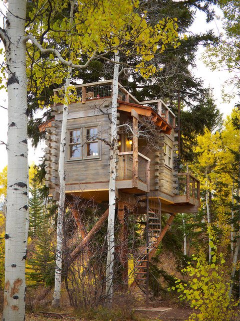 Colorado Treehouse Rustic Exterior Denver By Missy Brown Design