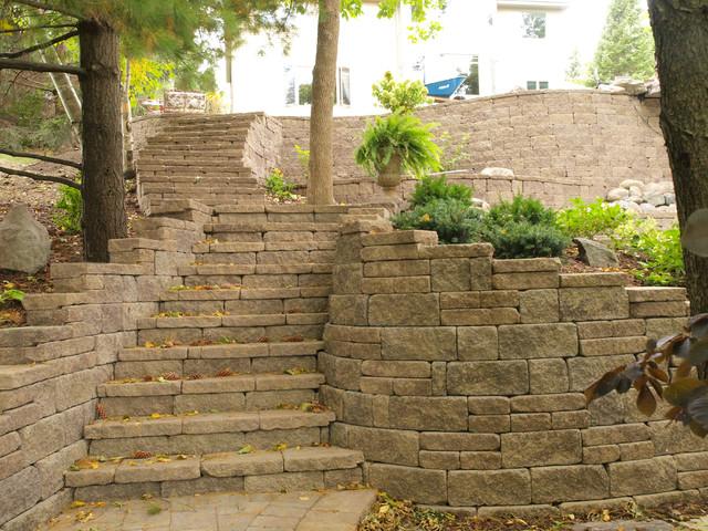 Concrete Block Raised Patio With Allan Block Retaining