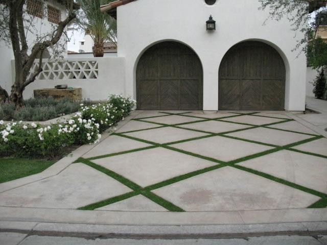 Concrete Driveway with Criss-Crossing Strips of Grass - Mediterranean - Exterior - Grand Rapids ...
